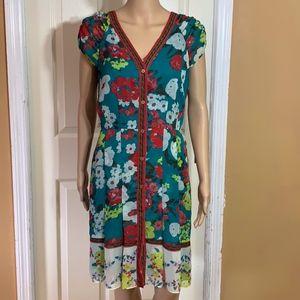 New York & Company floral dress petal sleeves sz m